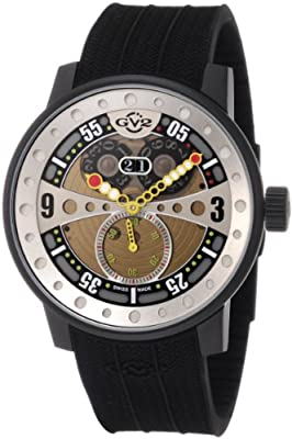 GV2 by Gevril Men's 4041R Powerball Black Rubber Sub-Second Big Date Watch by GV2 by Gevril