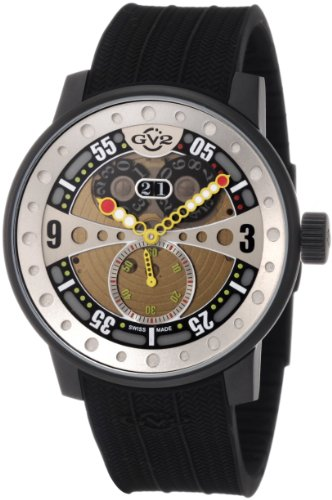 GV2 by Gevril Men's 4041R Powerball Black Rubber Sub-Second Big Date Watch