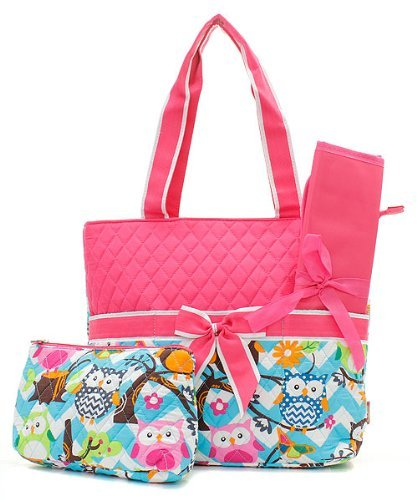 Quilted Owl Chevron Diaper Bag Hp