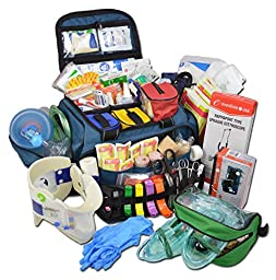 Lightning X Extra Large Medic First Responder EMT Trauma Bag Stocked First Aid Deluxe Fill Kit C (Blue)