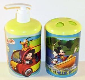 Disney Mickey Mouse Mooska Mouse Vacation Toothbrush Holder Soap Dispenser Set