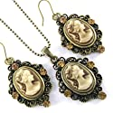 Classic Brown Cameo Necklace Antique Vintage 2-piece Cameo Jewelry Set Pendant Charm Dangle Earrings