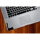 """Cat Lying Down Tail Raised - Trackpad / Keyboard - Vinyl Decal Sticker - Copyright © Yadda-Yadda Design Co. (2.5""""w x 3""""h) (BLACK)"""