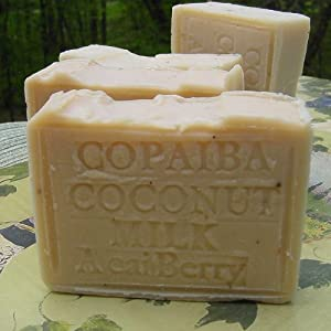 Handcrafted Copaiba Soap with Acai Berry Butter Brazilian Almond Oil .- Due To Its Soothing Properties, Coconut Milk is a Great Moisturizer That Can Replace Moisture in Dehydrated Skin