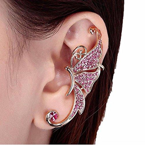 Wrone (TM) Crystal Butterfly Wings dell'orecchio della clip gioielli morsetto modo dell'orecchino 8