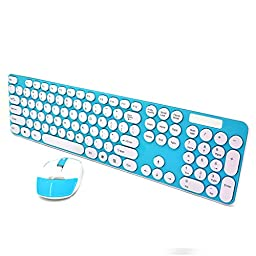 SROCKER Ultra Thin 2.4GHz Wireless Silent Click Keyboard and Mouse Combo Chocolate Keys with Nano USB Receiver for Windows 2000, Windows XP, Windows Vista, Windows 7, Windows 8, PC, Laptop (Blue)