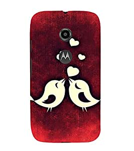 ANIMATED LOVE BIRDS IN A RED BACKGROUND 3D Hard Polycarbonate Designer Back Case Cover for Motorola Moto E2 :: Motorola Moto E (2nd Gen)