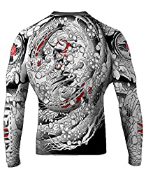 Raven Fightwear Men\'s Irezumi BJJ MMA Rash Guard Large