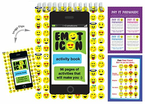 iscream 'Emoticons' 96-page Emoji Activity Book with Picture Changing Cover