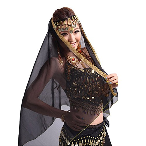 Etosell Belly Dance Chiffon Big Veil Shawl Skirt Scarf Gypsy Gold Trim Headscarf