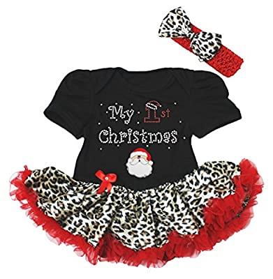 Baby Girl First Christmas Dress Leopard Tutu Set by Petitebella
