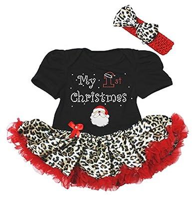 Baby Girl First Christmas Dress Leopard Tutu Set by Petitebella