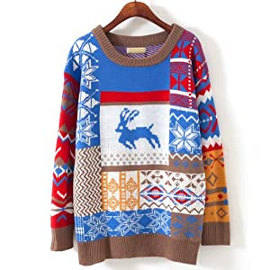 Women Girls Christmas Jubilant Deer Tree Sweater