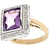 Ariel 9ct Yellow Gold Diamond and Amethyst Cluster Ladies Ring