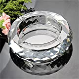 WEKITY 4inch Crystal Cigarette Ashtray Ash Holder Case Clear K9 Crystal Great For Home Office Tabletop Beautiful...
