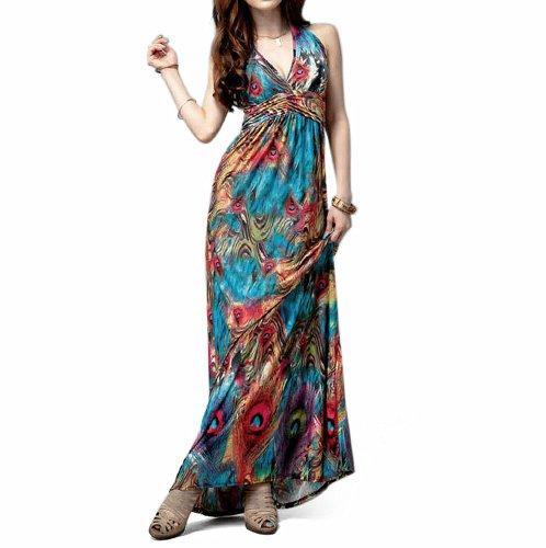Toptie Flaming Peacock Feather Print Empire Waist Maxi Dress