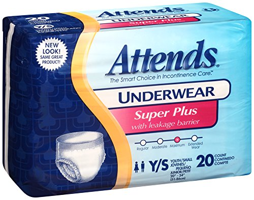 Attends Incontinence Care Underwear, Super Plus, Youth, 20 Count (Pack of 4) - 1