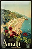 Tin Sign Poster Drawing holiday Amalfi Coast Sail Sea beach Italy 20x30 cm Large Metal Wall Decoration Vintage Retro Classic Plaque
