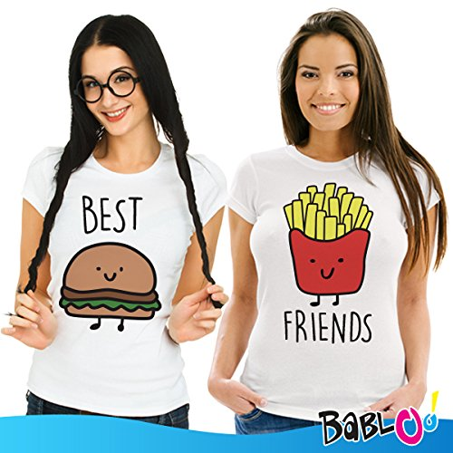 Coppia Di T Shirt Magliette You And Me Best Friend Hamburger e Patatine Bianche Donna Best L Donna Friend L