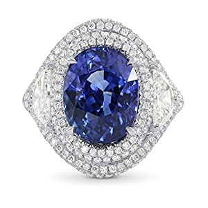 8.23Cts Sapphire Side Diamonds Engagement Extraordinary Ring Set in Platinum