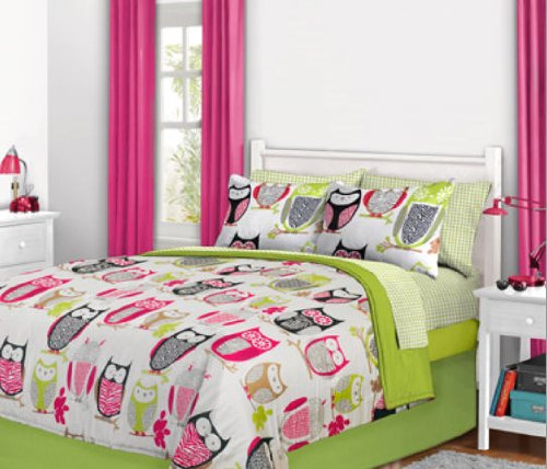 Nature Hoot Owl Girls Twin Comforter Set (6 Piece Bed In A Bag) front-4909