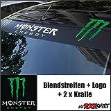 '2x Monster Energy Blend bande 130cm, Logo & 2autocollants griffes 30cm, + Bonus