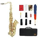 LADE セット Bb テナーサックス サックス ブラス製 吹奏楽 練習用 本番にも 使い勝手はあなた次第!彫刻入り テナーサキソフォン