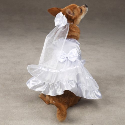Polyester Dog Wedding Dress - White, Small, 12-Inch