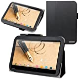 Evecase SlimBook Leather Folio Stand Case Cover for Toshiba Excite Write - 10.1 inch Tablet (AT15PE-A32 / AT10PE-A-104) - Black