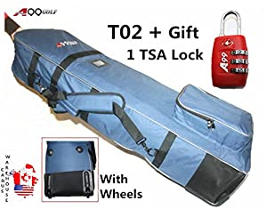 "T02 A99 Golf bag Travel cover rolling wheel Blue 50"" with a free TSA lock"