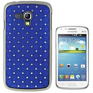 Crazy4Gadget Luxury Bling Diamond Plating Skinning Plastic Case for Samsung Galaxy Dous / i8262D(Dark Blue)