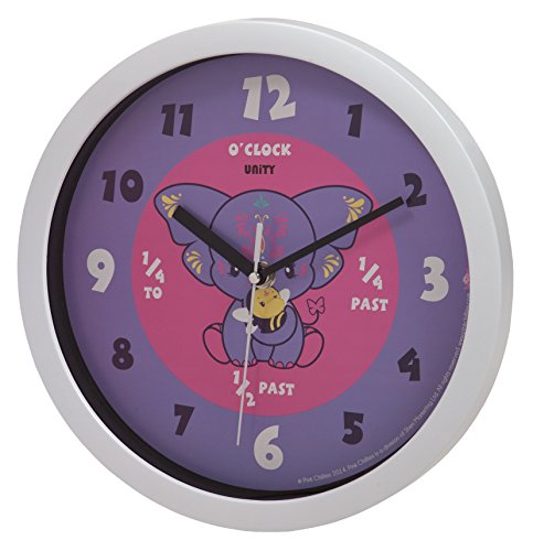 Unity Pink Chilies Yara Silent Sweep Learn The Time Wall Clock, 10-Inch, Purple