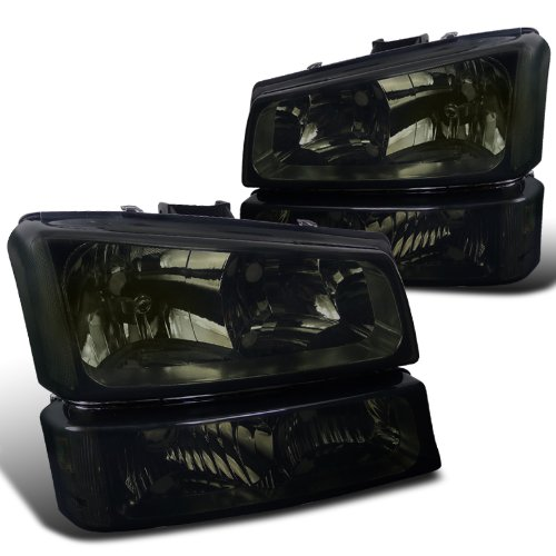 Spec-D Tuning LBLH-SIV03G-RS Chevy Silverado Avalanche Crystal Smoke Tint Headlights+Bumper Lamps (2002 Avalanche Headlight Assembly compare prices)