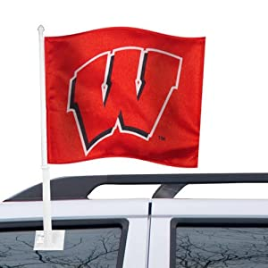 NCAA Wisconsin Badgers Red Car Flag