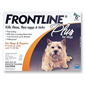 Merial Frontline Plus Flea and Tick Control for Dogs and Puppies, 6 Doses, For Dogs 89 to 132 Pounds