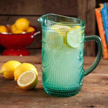 The Pioneer Woman Adeline 1.59-Liter Turquoise Glass Pitcher, Dishwasher Safe (Kool Aid Man Pitcher compare prices)