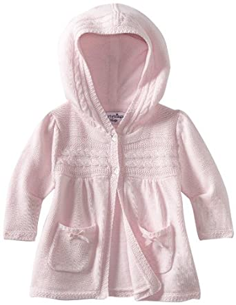 Hartstrings Baby-Girls Newborn Cotton Hooded Cardigan Sweater, Pink Lilac, 0-3 Months
