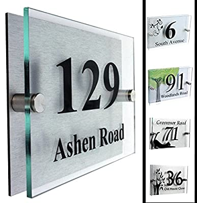 Type 2 | Designer House Number Plaque | House Number Sign 2 Part Acrylic - Glass Look