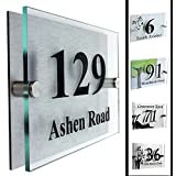 Type 2 | Designer House Number Plaque | House Number Sign 2 Part Acrylic - Glass Lookby UK House Signs