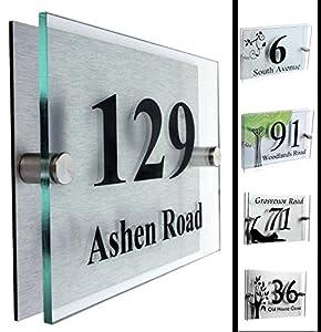modern acrylic address plaque house number. Black Bedroom Furniture Sets. Home Design Ideas