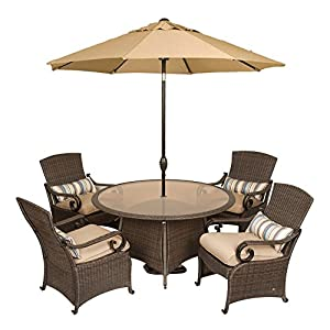 Lake Como Patio Dining Set with Umbrella and Base (5 Piece, Wicker