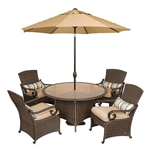 Lake Como Patio Dining Set with Umbrella and Base (5 Piece, Wicker) by La-Z-Boy Outdoor