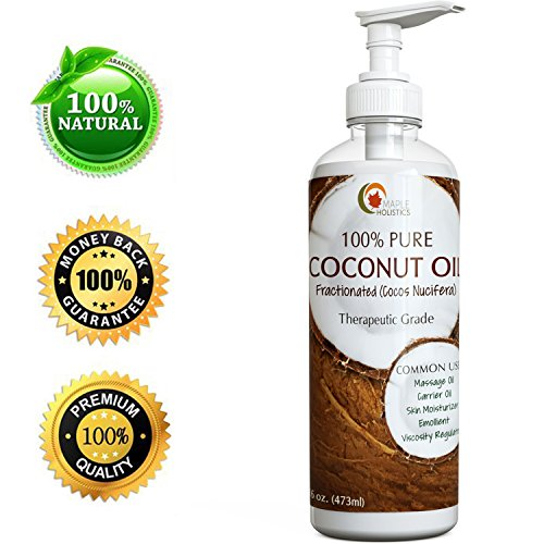 Fractionated Coconut Oil - Cold Pressed - 100% Pure and Food Grade - Rich in Fatty Acids & Great Carrier for Essential Oils & Aromatherapy Use - Moneyback Guaranteed By Maple Holistics