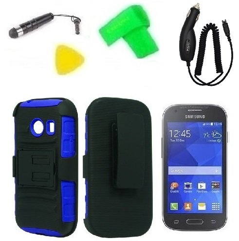 Belt Clip Holster W Kickstand Heavy Duty Hybrid Phone Case Cover Cell Phone Accessory + Car Charger + Extreme Band + Stylus Pen + Lcd Screen Protector Guard + Yellow Pry Tool For Straight Talk Tracfone Net 10 Samsung Galaxy Ace Style S765C (Belt Clip Hols