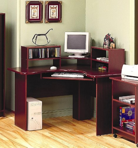 Cherry Finish Corner Computer Desk Office Table Work Station