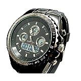 【 ビックフェイス 】 メンズ デジタル クロノグラフ 腕 時計 LED ダイバー ガンメタ 回転 ベゼル (ブラック) 33