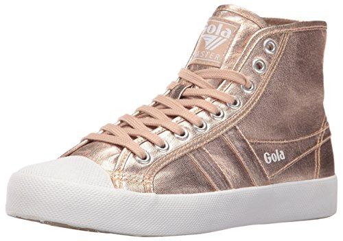 Gola Women's Coaster Metallic High Fashion Sneaker, Rose Gold/Rose Gold, 8 M US