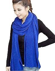 Wander Agio Women's Warm Long Shawl Winter Warm Large Scarf Pure Color Blue