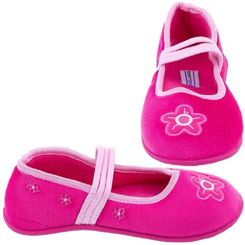 Cheap Tender Toes Dark Pink Floral Slippers for Toddlers and Girls (B005R3OWJK)
