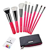 Party Queen Beauty Luxury 9Pcs Makeup Brush Set Pink Makeup Brushes Kit with Black Pouch